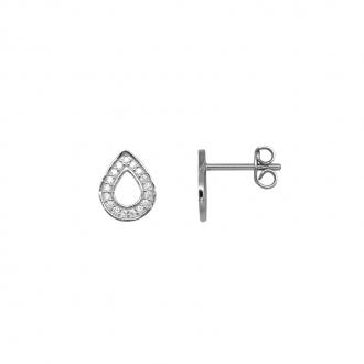 Boucles d'oreilles gouttes serties d'oxydes de zirconium en argent 925/000