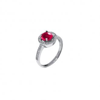 Bague joaillerie Carador argent 925/000, pierre rouge