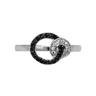Bague Carador cercles empierrés d'oxydes de zirconium noirs et blancs argent 925/000
