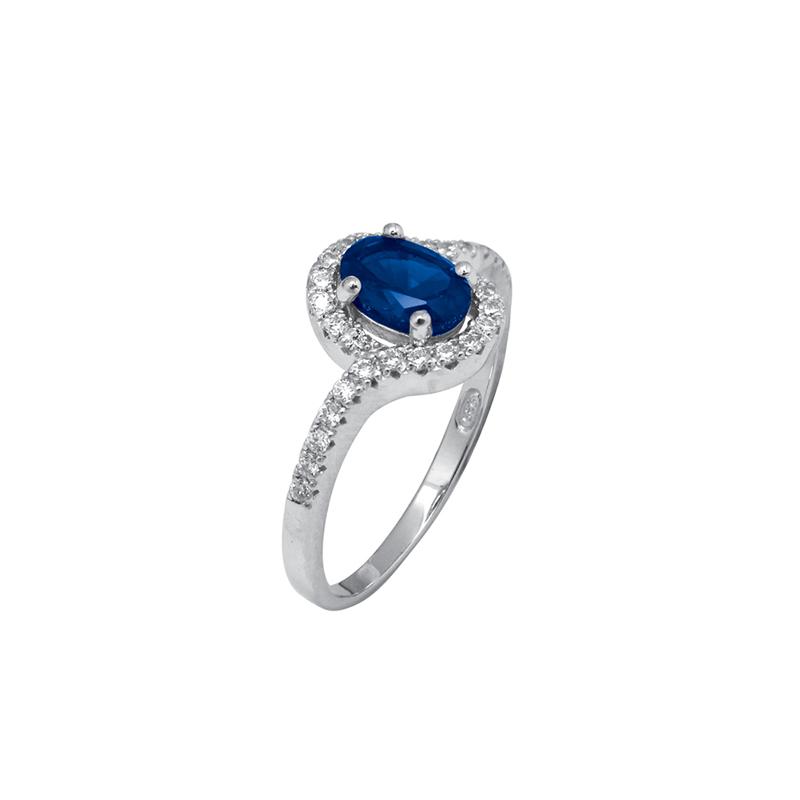 Bague Carador cabochon argent 925/000, oxydes de zirconium et pierre bleue