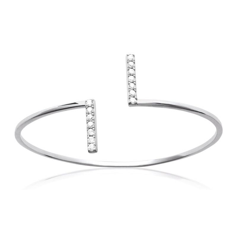 Bracelet Carador jonc ouvert barrette argent 925/000 et oxydes de zirconium