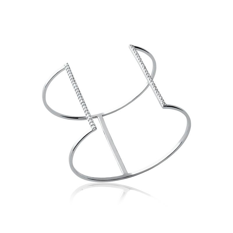 Bracelet rigide Carador Jonc double ouvert argent 925/000 et oxydes de zirconium
