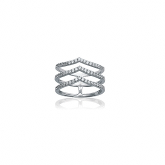 Bague Carador triple anneaux Minimaliste argent 925/000 et oxydes de zirconium
