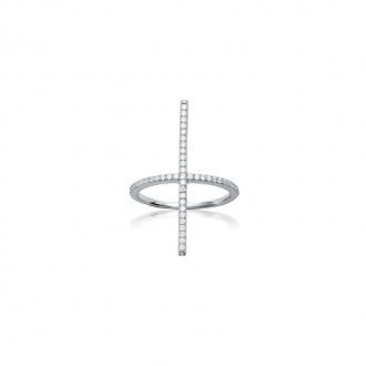 Bague Carador croix minimaliste argent 925/000 et oxydes de zirconium