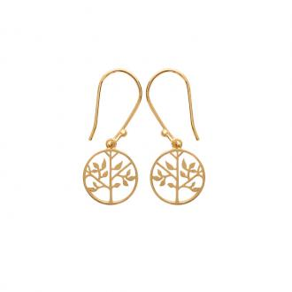Boucles d'oreilles pendantes Carador collection Happy motif arbre de vie plaqué or