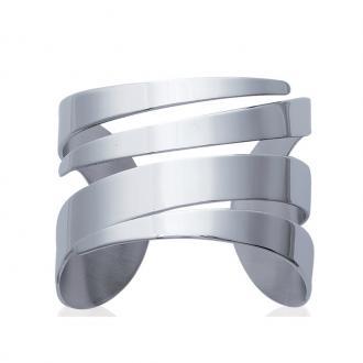 Bracelet manchette Carador découpe graphique acier argenté