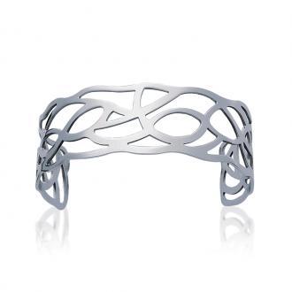 Bracelet manchette Carador motif courbe acier argenté