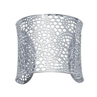 Bracelet Carador manchette dentelle géométrique acier argenté