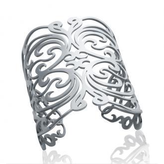 Bracelet Carador manchette large motifs arabesques acier argenté