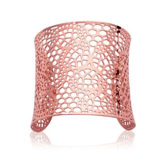 Bracelet Carador manchette dentelle géométrique acier doré rose
