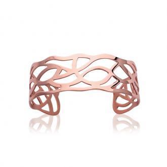 Bracelet manchette Carador motif courbe acier doré rose