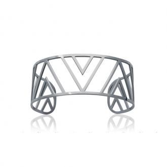 Jonc géométrique Carador en acier argenté