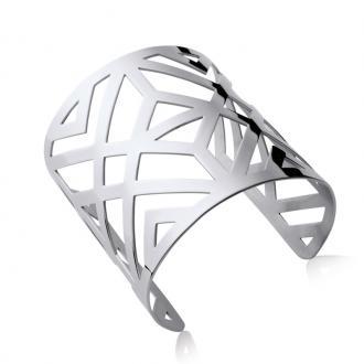 Manchette Carador motif géométrique acier argenté