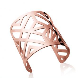 Manchette Carador motif géométrique acier doré rose