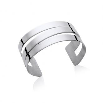Bracelet manchette Carador trois rangs acier argenté