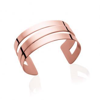 Bracelet manchette Carador trois rangs acier doré rose
