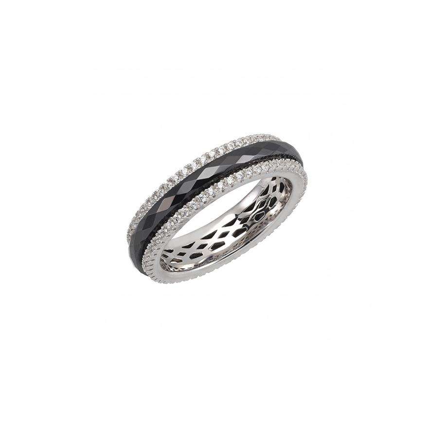 bague carador anneau c ramique noire argent 925 000 et cristaux pour. Black Bedroom Furniture Sets. Home Design Ideas