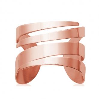 Bracelet manchette Carador découpe graphique acier doré rose