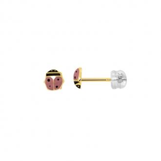 Boucles d'oreilles coccinelle noir et rose en or jaune 375/000 et laque