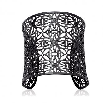 Bracelet manchette Carador dentelle inspiration marocaine acier noir