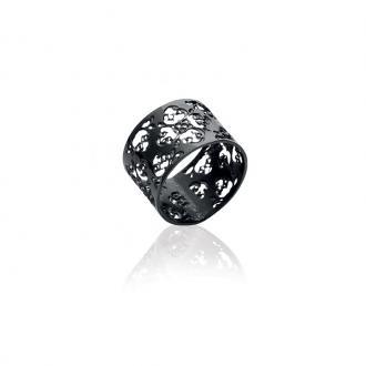 Bague Carador dentelle florale acier noir