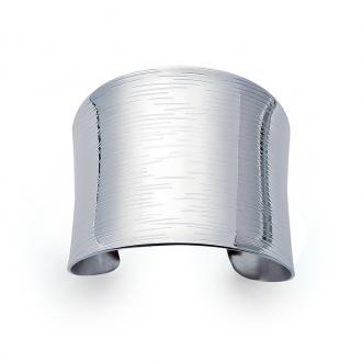 Bracelet manchette Carador striée en acier argenté