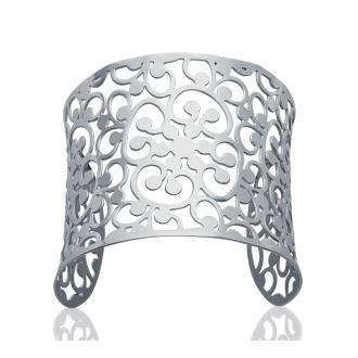 Bracelet Manchette Carador motif floral acier argenté