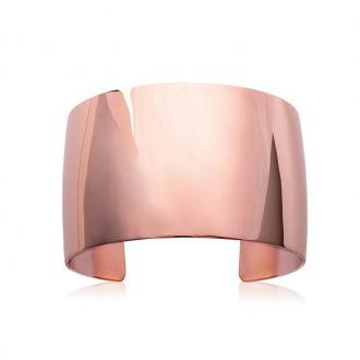 Bracelet manchette Carador fantaisie en acier doré rose