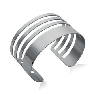 Bracelet manchette Carador rubans acier argenté