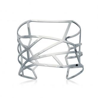 Bracelet Manchette Carador mosaïque graphique acier argenté