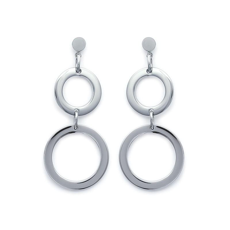 Boucles d'oreilles Carador cercles acier argenté