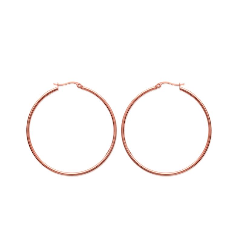 Boucles d oreilles créoles Carador diamètre 50 mm acier doré rose pour 2d37e759eb37