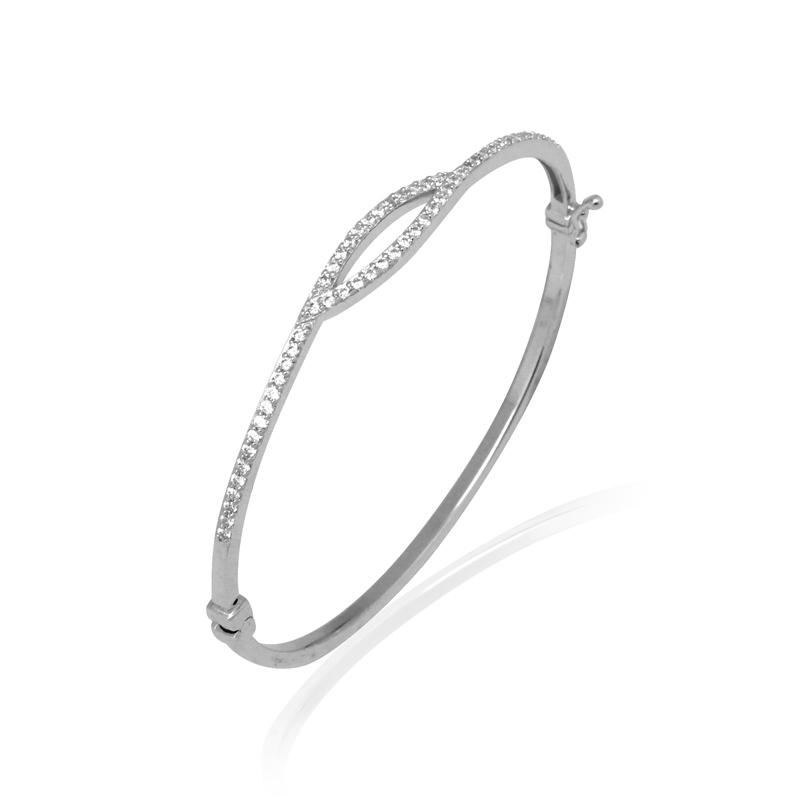 Bracelet jonc Carador fantaisie empierré d'oxydes de zirconium argent 925/000
