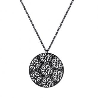 Collier Carador pendentif dentelle florale acier noir