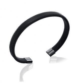 Bracelet jonc Carador fantaisie acier noir