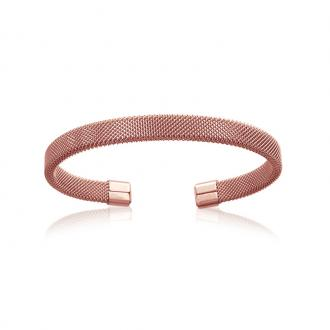 Bracelet jonc Carador fantaisie acier doré rose