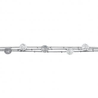Bracelet Carador multirang pastilles arabesques acier argenté