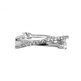 Bague Carador triple anneaux croisés argent 925/000 et oxydes de zirconium