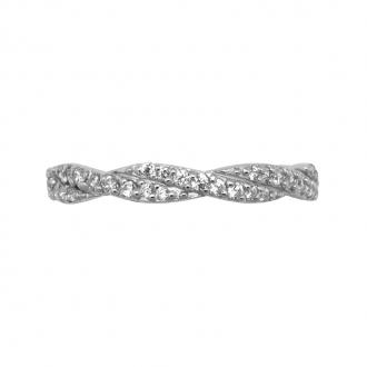 Bague Cartador anneau double torsadé argent 925/000 et oxydes de zirconium