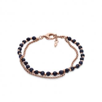 Bracelet Fossil double chaine dore rose et pierres noires JA6853791