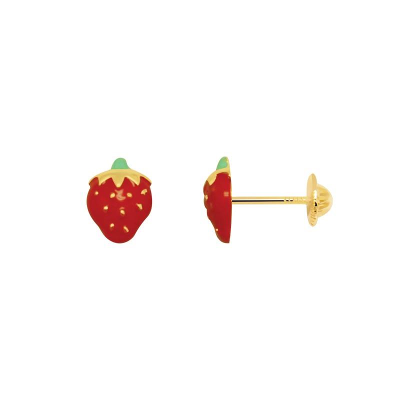 Boucles d'oreilles Carador or jaune 375/000  enfant forme de fraise