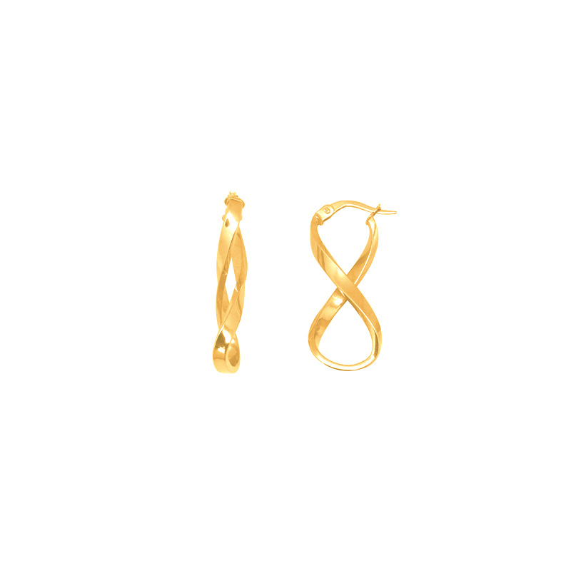 Boucles d'oreilles Carador symbole infini torsadé or jaune 375/000