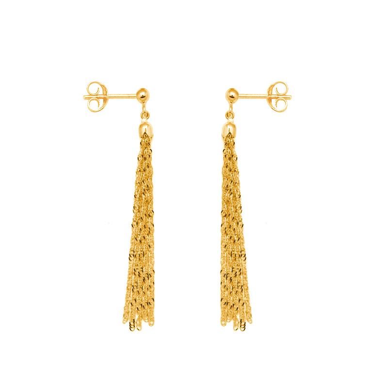 Boucles d'oreilles Carador pendantes pompon or jaune 375/000