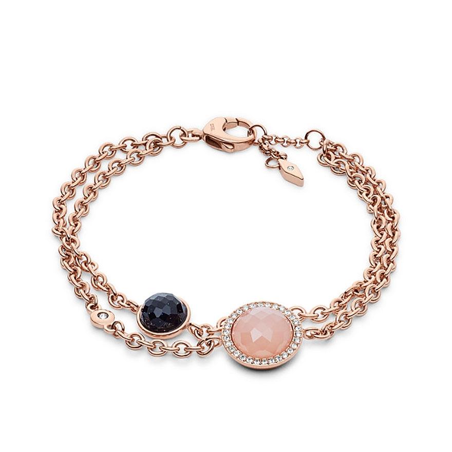 bracelet femme fossil crystal dor rose jf02505791 pour femme. Black Bedroom Furniture Sets. Home Design Ideas