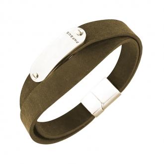 Bracelet Homme Phebus en cuir et acier 35/0842