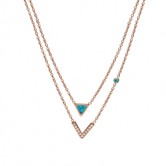 Collier double chaine Fossil Trinagle Turquoise JF02644791
