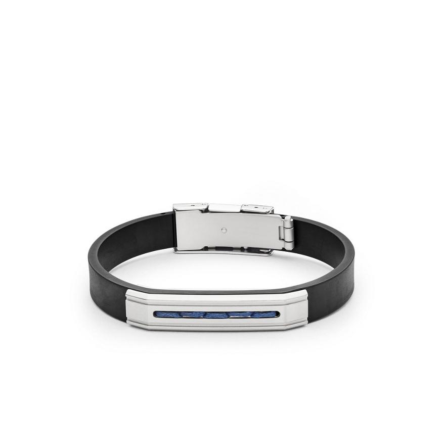 Bracelet Homme Fossil acier et silicone noir JF02678040