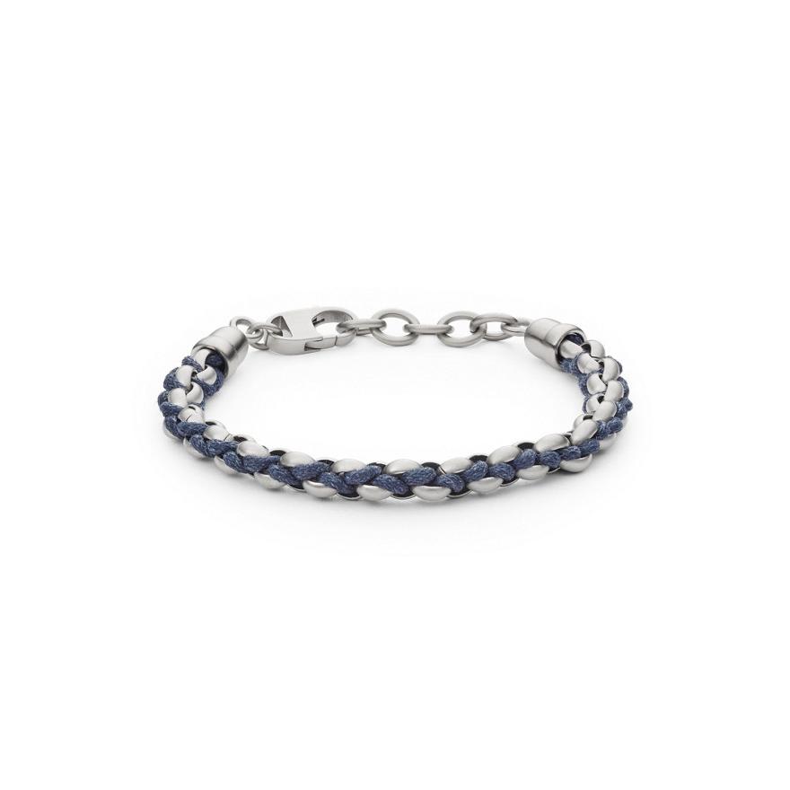 bracelet homme fossil cordon bleu et acier jf02679040 pour. Black Bedroom Furniture Sets. Home Design Ideas