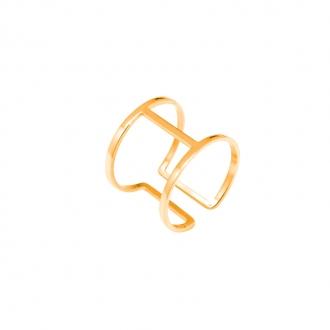 Bague réglable Amporelle  double anneau acier doré