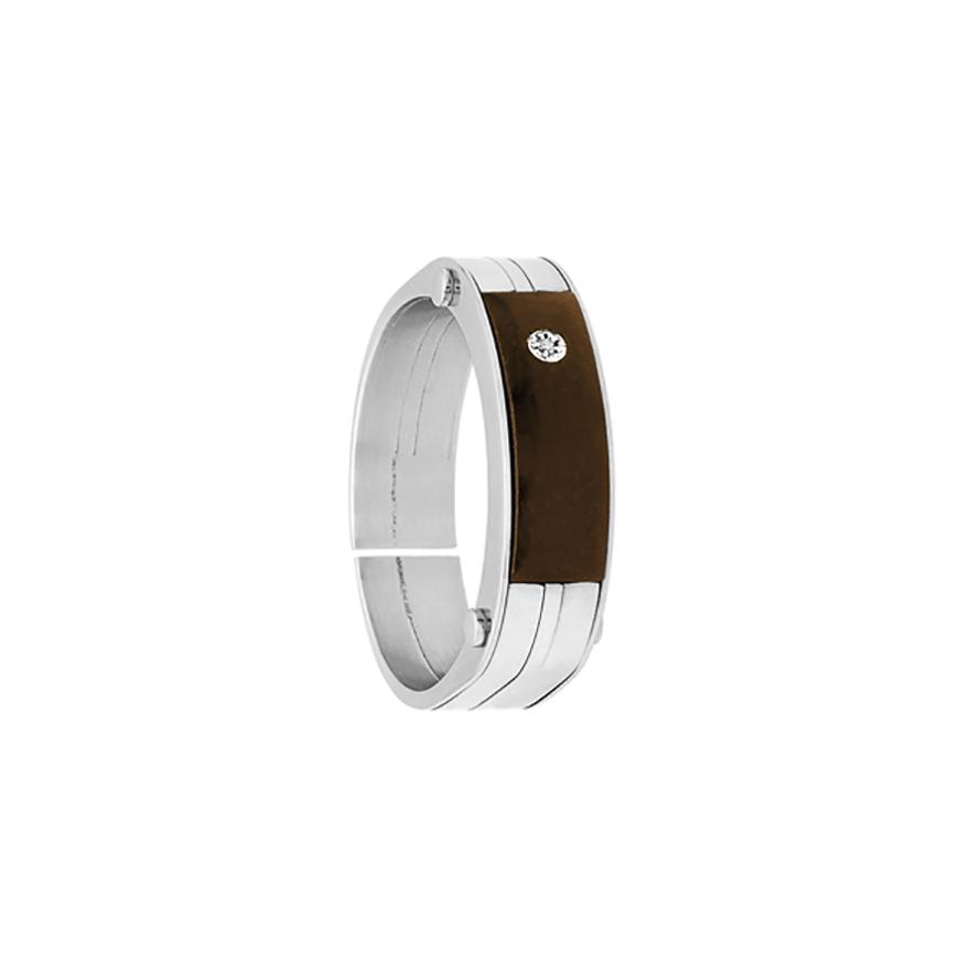 Bague Homme Jourdan Bijoux acier, ébéne et diamant FZ 133 H pour HOMME 5836bce020fb